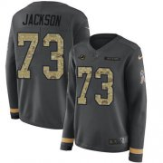 Wholesale Cheap Nike Dolphins #73 Austin Jackson Anthracite Salute to Service Women's Stitched NFL Limited Therma Long Sleeve Jersey