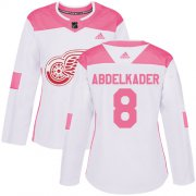 Wholesale Cheap Adidas Red Wings #8 Justin Abdelkader White/Pink Authentic Fashion Women's Stitched NHL Jersey