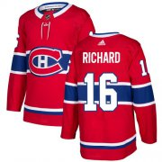 Wholesale Cheap Adidas Canadiens #16 Henri Richard Red Home Authentic Stitched NHL Jersey