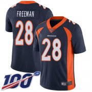 Wholesale Cheap Nike Broncos #28 Royce Freeman Navy Blue Alternate Men's Stitched NFL 100th Season Vapor Limited Jersey