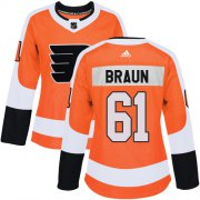 Wholesale Cheap Adidas Flyers #61 Justin Braun Orange Home Authentic Women's Stitched NHL Jersey