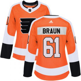 Wholesale Cheap Adidas Flyers #61 Justin Braun Orange Home Authentic Women\'s Stitched NHL Jersey