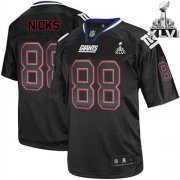 Wholesale Cheap Giants #88 Hakeem Nicks Lights Out Black Super Bowl XLVI Embroidered NFL Jersey