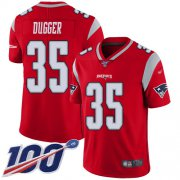 Wholesale Cheap Nike Patriots #35 Kyle Dugger Red Men's Stitched NFL Limited Inverted Legend 100th Season Jersey
