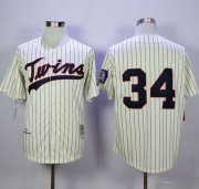 Wholesale Cheap Mitchell And Ness Twins #34 Kirby Puckett Cream Strip Throwback Stitched MLB Jersey