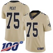 Wholesale Cheap Nike Saints #75 Andrus Peat Gold Youth Stitched NFL Limited Inverted Legend 100th Season Jersey
