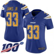 Wholesale Cheap Nike Chargers #33 Derwin James Jr Electric Blue Women's Stitched NFL Limited Rush 100th Season Jersey