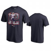 Wholesale Cheap New England Patriots #12 Tom Brady Navy Men's Player Graphic Powerhouse T-Shirt