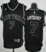 Wholesale Cheap New York Knicks #7 Carmelo Anthony Revolution 30 Swingman All Black With White Jersey