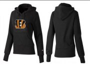 Wholesale Cheap Women's Cincinnati Bengals Logo Pullover Hoodie Black