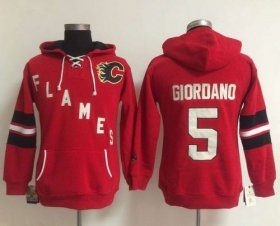 Wholesale Cheap Calgary Flames #5 Mark Giordano Red Women\'s Old Time Heidi NHL Hoodie