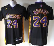 Wholesale Cheap Los Angeles Lakers #24 Kobe Bryant Revolution 30 Swingman 2014 New Black With Purple Short-Sleeved Jersey