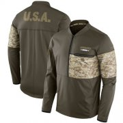 Wholesale Cheap Men's Los Angeles Chargers Nike Olive Salute to Service Sideline Hybrid Half-Zip Pullover Jacket