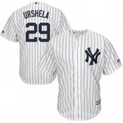 Wholesale Cheap Yankees #29 Gio Urshela White Strip New Cool Base Stitched MLB Jersey