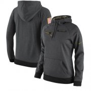 Wholesale Cheap Women's New England Patriots Nike Anthracite Salute to Service Player Performance Hoodie