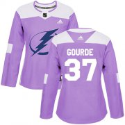 Cheap Adidas Lightning #37 Yanni Gourde Purple Authentic Fights Cancer Women's Stitched NHL Jersey