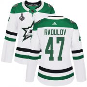 Cheap Adidas Stars #47 Alexander Radulov White Road Authentic Women's 2020 Stanley Cup Final Stitched NHL Jersey