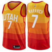 Wholesale Cheap Men's NBA Utah Jazz #7 Pete Maravich Swingman Orange City Edition Nike Jersey