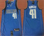 Wholesale Cheap Men's Dallas Mavericks #41 Dirk Nowitzki Light Blue 2017-2018 Nike Icon Edition Swingman Jersey