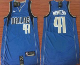 Wholesale Cheap Men\'s Dallas Mavericks #41 Dirk Nowitzki Light Blue 2017-2018 Nike Icon Edition Swingman Jersey