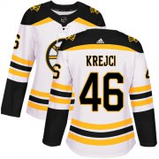 Wholesale Cheap Adidas Bruins #46 David Krejci White Road Authentic Women's Stitched NHL Jersey