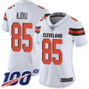 Wholesale Cheap Nike Browns #85 David Njoku White Women's Stitched NFL 100th Season Vapor Limited Jersey