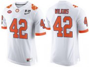 Wholesale Cheap Men's Clemson Tigers #42 Christian Wilkins White 2017 Championship Game Patch Stitched CFP Nike Limited Jersey