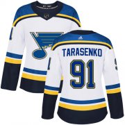 Wholesale Cheap Adidas Blues #91 Vladimir Tarasenko White Road Authentic Women's Stitched NHL Jersey