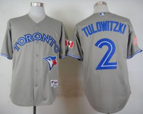 Wholesale Cheap Blue Jays #2 Troy Tulowitzki Grey Stitched MLB Jersey