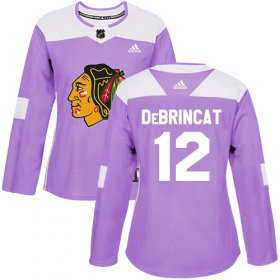 Wholesale Cheap Adidas Blackhawks #12 Alex DeBrincat Purple Authentic Fights Cancer Women\'s Stitched NHL Jersey
