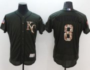 Wholesale Royals #8 Mike Moustakas Green Flexbase Authentic Collection Salute to Service Stitched Baseball Jersey