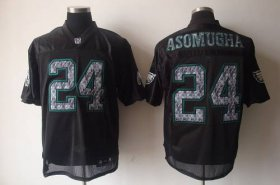 Wholesale Cheap Sideline Black United Eagles #24 Nnamdi Asomugha Black Stitched NFL Jersey