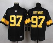 Wholesale Cheap Nike Steelers #97 Cameron Heyward Black(Gold No.) Men's Stitched NFL Elite Jersey