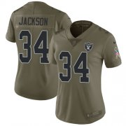 Wholesale Cheap Nike Raiders #34 Bo Jackson Olive Women's Stitched NFL Limited 2017 Salute to Service Jersey