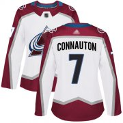 Wholesale Cheap Adidas Avalanche #7 Kevin Connauton White Road Authentic Women's Stitched NHL Jersey