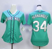 Wholesale Cheap Mariners #34 Felix Hernandez Green Alternate Women's Stitched MLB Jersey