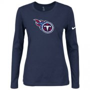 Wholesale Cheap Women's Nike Tennessee Titans Of The City Long Sleeve Tri-Blend NFL T-Shirt Dark Blue