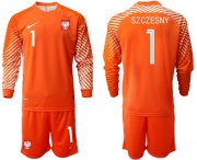 Wholesale Cheap Poland #1 Szczesny Orange Goalkeeper Long Sleeves Soccer Country Jersey