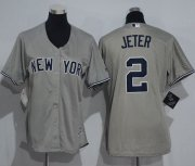 Wholesale Cheap Yankees #2 Derek Jeter Grey Women's Road Stitched MLB Jersey