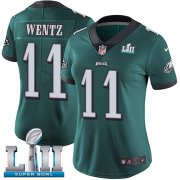 Wholesale Cheap Nike Eagles #11 Carson Wentz Midnight Green Team Color Super Bowl LII Women's Stitched NFL Vapor Untouchable Limited Jersey