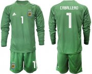 Wholesale Cheap Argentina #1 Caballero Army Green Long Sleeves Goalkeeper Soccer Country Jersey