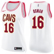 Wholesale Cheap Nike Cleveland Cavaliers #16 Cedi Osman White Pink Women's NBA Swingman Fashion Jersey