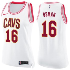 Wholesale Cheap Nike Cleveland Cavaliers #16 Cedi Osman White Pink Women\'s NBA Swingman Fashion Jersey