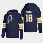 Wholesale Cheap St. Louis Blues #18 Robert Thomas Blue adidas Lace-Up Pullover Hoodie