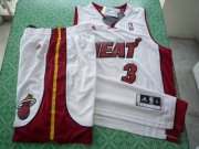 Wholesale Cheap Miami Heat 3 Dwyane Wade white swingman Basketball Suit
