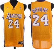 Wholesale Cheap Los Angeles Lakers #24 Kobe Bryant Yellow Swingman Jersey