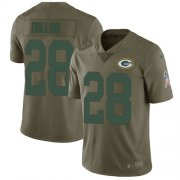 Wholesale Cheap Nike Packers #28 AJ Dillon Olive Youth Stitched NFL Limited 2017 Salute To Service Jersey