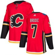 Wholesale Cheap Adidas Flames #7 TJ Brodie Red Home Authentic Stitched Youth NHL Jersey