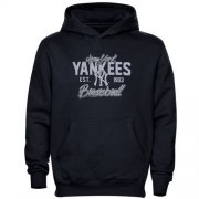 Wholesale Cheap New York Yankees Script MLB Pullover Navy Blue MLB Hoodie