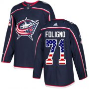 Wholesale Cheap Adidas Blue Jackets #71 Nick Foligno Navy Blue Home Authentic USA Flag Stitched Youth NHL Jersey
